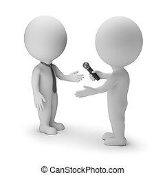 pequeno, entrevista, 3d, -, pessoas