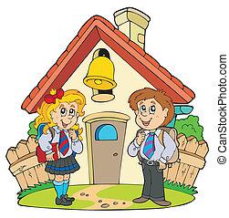 pequeno, escola, com, crianças, em, uniformes