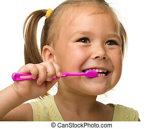 pequeno, escova de dentes, dentes limpando, usando, menina