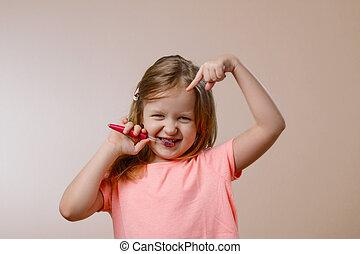pequeno, escovas, menina, dentes
