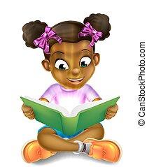 pequeno, espantoso, livro, leitura menina, caricatura