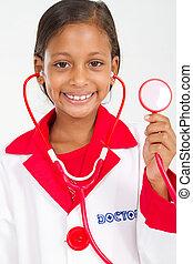 pequeno, estetoscópio, segurando, doutor