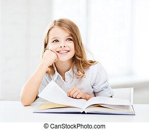 pequeno, estudante, menina, estudar, em, escola