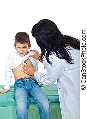 pequeno, examinando, doutor, menino