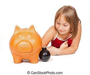 pequeno, explodindo, menina, banco, piggy
