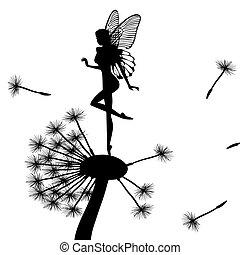 pequeno, fada, dandelion, dançar