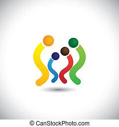 pequeno, família, de, pai, mãe & crianças, junto, vetorial, icons., este, gráfico, também, representa, relacionamento, junto, importar-se, amor, &, apoio, gerações, etc