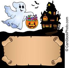pequeno, fantasma, dia das bruxas, pergaminho