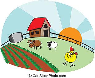 pequeno, fazenda