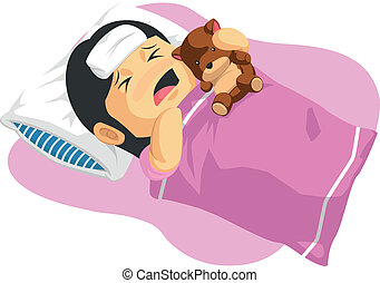 pequeno, febre, tendo, menina, caricatura