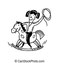 pequeno, feliz, horse., balanço, criança