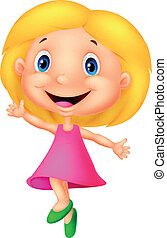 pequeno, feliz, menina, caricatura