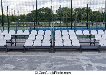 pequeno, field., futebol, tribuna