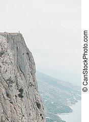 pequeno, figura, de, homem, borda, de, cliff.