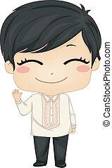 pequeno, filipino, menino, desgastar, nacional, traje,...