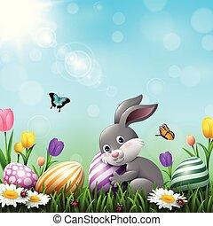 pequeno, flores, coloridos, ovos, saudação, coelho, capim, páscoa, cartão