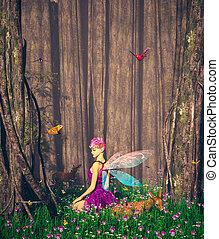 pequeno, floresta, tales, forest's, pixie, ilustração, mágico