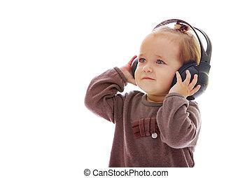 pequeno, fones, menina, escutar, music.