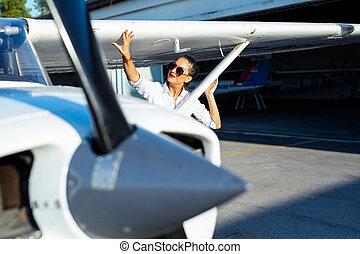 pequeno, fundo, modernos, óculos de sol, piloto, aeronave, femininas