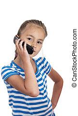 pequeno, fundo, telefone pilha, menina, branca, falando