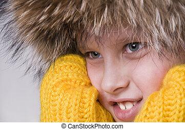 pequeno, fur-cap, inverno, menino, retrato