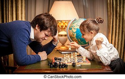 pequeno, ganhado, xadrez, menina, homem