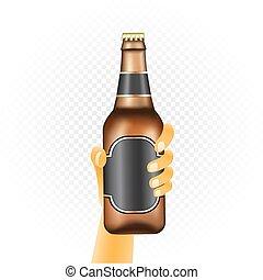 pequeno, garrafa cerveja, mão