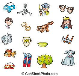 pequeno, gato, desenhos, árvore, cão