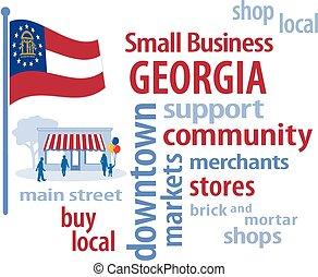 pequeno, geórgia, bandeira, negócio