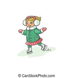 pequeno, gelo inverno, patinação, menina, desporto, feliz