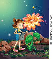 pequeno, gigante, planta molhando, menina