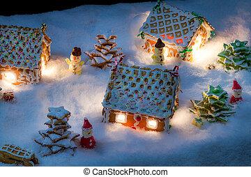 pequeno, gingerbread, doçura, construído, vila