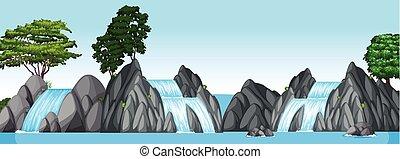 pequeno, grande, cachoeiras, lago, três