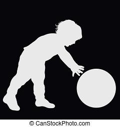 pequeno, grande, desporto, experiência preta, criança, divertimento, bola, tocando