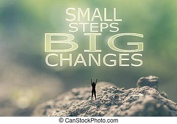 pequeno, grande, passos, mudanças