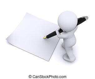 pequeno, grande, personagem, escreva, caneta, cartão, 3d
