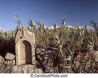 pequeno, granito, ruína, santuário