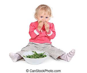 pequeno, grean, menina, comer, ervilhas