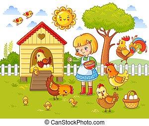pequeno, hens., galinhas, alimenta, menina