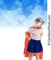 pequeno, herói super, salvamento, criança