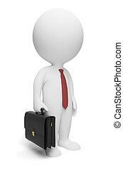 pequeno, homem negócios, 3d, -, pessoas