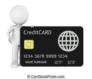 pequeno, human, crédito, segurando, cartão, 3d