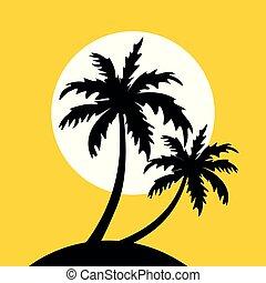 pequeno, ilha, amarela, coqueiros, fundo, sol
