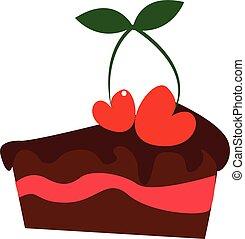 pequeno, illustration., cor, bolo cereja, vetorial, ou