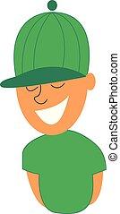pequeno, illustration., cor, menino, vetorial, sorrindo, ou