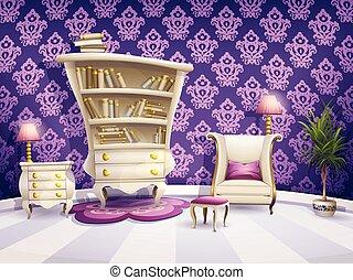 pequeno, ilustração, gabinete, livro, princesas, branca, ...