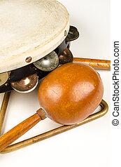 pequeno, instrumentos percussão