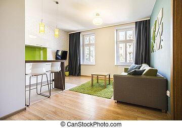 pequeno, interior, modernos, estúdio