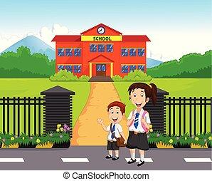 pequeno, ir, escola brinca