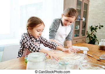 pequeno, irmãs, preparar, bolo